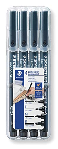 Staedtler Lumocolor 31-9WP4GS Folienstift, SFMB, Staedtler Box, 4 Stück