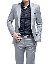 Primeday Costume Homme Formel Deux-Pièces Un Bouton Business Mariage Slim Fit Blazer Mode Elégant Classique