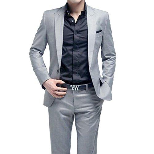 Herren Anzug 2 Teilig Sakko und Hose Slim Fit Business Casual, Grau, (Business Kostüm Mann)