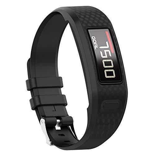 Uhrenarmbänder für Garmin Vivofit 1 Vivofit 2 Armband, Silikon Atmungsaktiv Replacement Uhrenarmband Sportarmband Band Erstatzband mit Schließe Bands Armband Band (Schwarz)