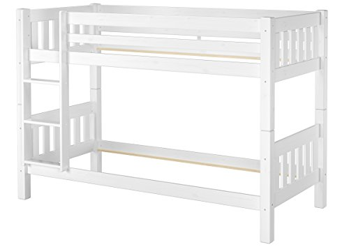Erst-Holz® Schönes Stockbett Kiefer Massivholz weiß 90x200cm Etagenbett Kinderzimmer 60.06-09WoR (Etagenbett Massivholz)
