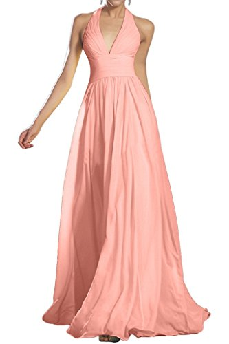 Sunvary a-line Halter chiffon Ruched damigella d' onore sera Prom dresses Light Peach