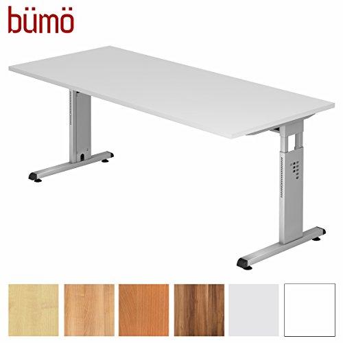 BÜMÖ Stabiler Schreibtisch höhenverstellbar 180 x 80 cm | Bürotisch in Weiß | Büroschreibtisch mit Höheneinstellung | Tisch für Büro in 9...