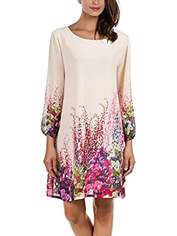 DJT Women's Casual Floral Print 3/4 Sleeve Round Neck Chiffon Loose Top Mini Dress Apricot Large