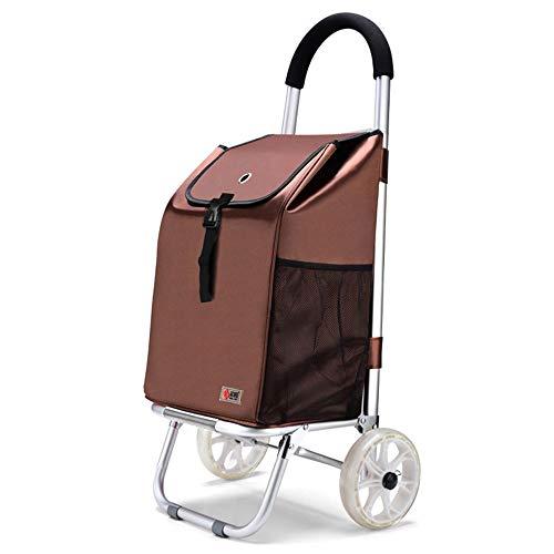 Kauf von Lebensmitteln Kleine Wagen Faltbare Einkaufswagen Aluminiumlegierung Doppel Rad Trolley Portable GW (Farbe : Brown, größe : 84cm)