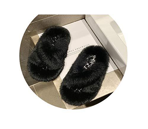 Fleece Slippers Female Korean Version The Fairy Wind Summer New Wear Outside Flat Cross Word Student Sandals,Black,7.5 Breeze Cross Strap
