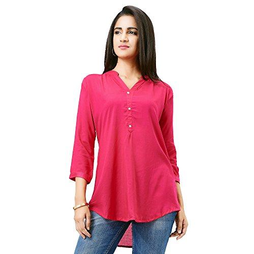 Aarnaa Women Casual Tunic 3/4th Sleeve Mandarin Collar Pink Muslin Short Kurti
