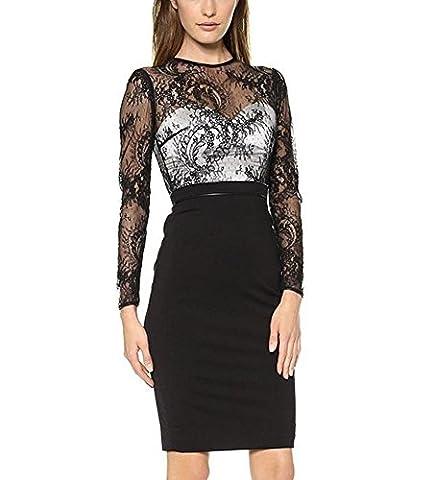 HZZ Frauen-reizvolle schwarze Spitze mit Blumen Sheer Etuikleid Verein-Cocktailparty Bleistift Abendkleid , black , xl