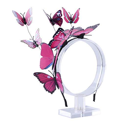 AWAYTR Schmetterlings Stirnband für Damen Mädchen Schmetterlings Haarband Fee Kostüm Kopfschmuck Party Festival schickes Fee Stirnband (Rose rot) (Alice Mädchen Kostüm)