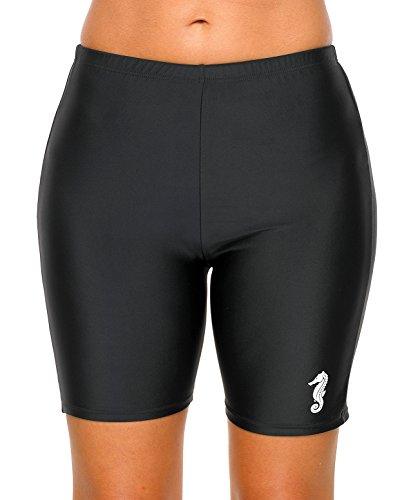 Charmo Damen Badehose Boardshort Damen bade Hotpants Damen Lange Badeshorts UV-Schutz Formbeständig Schwimmhose Schwarz L