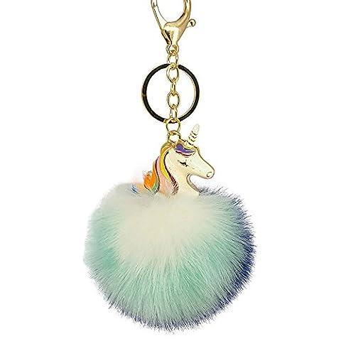 Fluffy Unicorn Keychain Porte-clés en peluche Pom Pom pour pendentifs pendentifs pour sacs de voiture