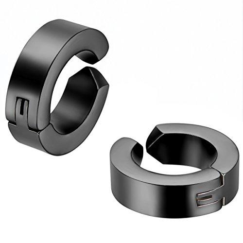 JewelryWe Schmuck 2x Creolen Edelstahl ohne Loch Fake Ohrstecker Ohrclips Klappcreolen Huggie 4mm Schwarz