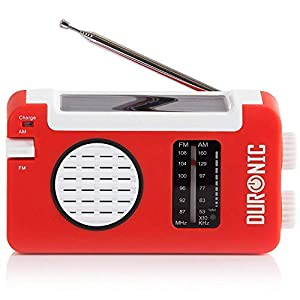 Duronic AM/FM Radio HYBRID | Charge 3 Ways: Solar Power, Wind Up, USB | Dynamo Crank Charging | Headphone Jack 3.5mm | Portable | For Emergency Use | Perfect for Camping, Hiking, Fishing, Outdoors