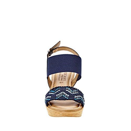 Easy Street Sanremo Femmes Toile Sandales Compensés Blue Multi