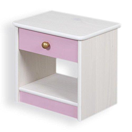 Liste de prix Table de chevet table de nuit ISABELLA 1 tiroir pin massif lasuré blanc et rose