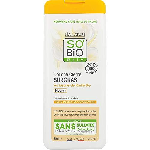 SO'BiO étic Douche Crème Surgras à l'Huile de Karité Bio 650 ml - Lot de 2