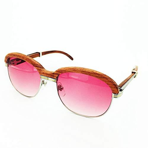 LKVNHP Neue Hochwertige Luxusmarke Designer Holz Brillenfassungen Holz Sonnenbrille Männer Rosa Sonnenbrille Für Herrenmode Shades Sonnenbrille FrauenSilber Rosa