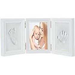 JZK blanc bébé empreinte de la main empreinte cadre photo kit pour garçons et filles parfait cadeau de douche de bébé,premium argile et cadres en bois (réussi le test de sécurité des jouets EN71)