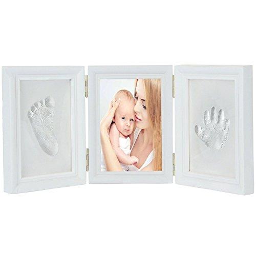 JZK Precioso kit marco huella manos pies bebé recuerdo