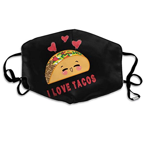 Masken für Erwachsene, Mouth Mask, Breathable Mask Anti Dust, Taco Mexican I Love Tacos Unisex Dust Allergy Flu Masks Cover Warm Respirator Germ Protective Breath Breath Healthy Safety Mouth Masks