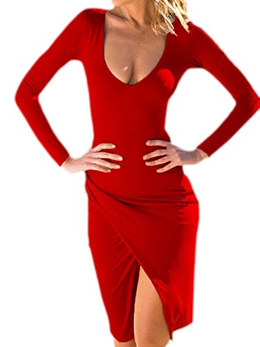 erdbeerloft - Damen Kurzes Kleid mit Langen Armen und hohen Schlitz am Bein, 34-42, Viele Farben Rot
