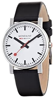 Mondaine Official Swiss Railways Watch Evo Men's Watch, Quartz with Black Leather Strap, Red Second Hand (B0009362AU) | Amazon Products