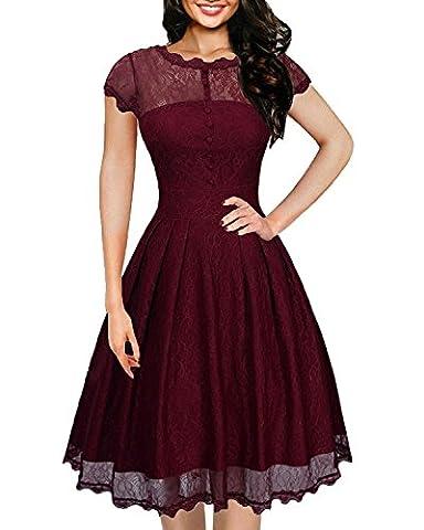 IHOT Women's Vintage 1950s Cap Sleeve Floral Lace A Line Shirt Swing Party Dress