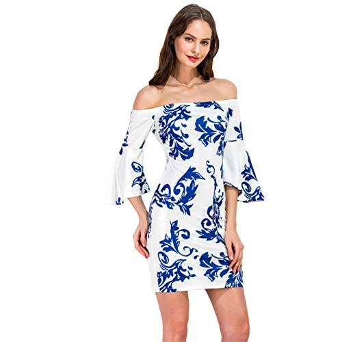 Hexiangsheng Lässiges Sommerkleid mit Split, Sommer-Swing-Kleid, EIN-Wort-Kragen, blaues und weißes Porzellan, dünnes Abnehmen-Kleid, kleines Kleid (Size : S) (Klein Swing Kleider)