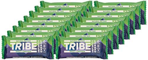 TRIBE Infinity-Energieriegel aus natürlichen Zutaten zur veganen Ernährung, gluten- und milchfreies Pflanzenprotein, Apfel-Zimt-Geschmack - 47g (Packung mit 16 Stück)