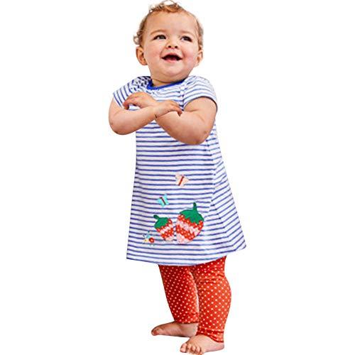 JERFER Karikatur Gestreift Kleid Kleinkind Baby Mädchen Tierdruck Kleid + Hosen Outfits Kleidung