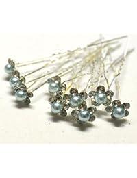 Horquillas con perlas de diamantes robustos y flores con cristales de color gris claro, para tocados de boda
