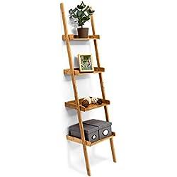 Estantería Estilo Escalera de bambú, 4estantes: 176x 44x 37cm