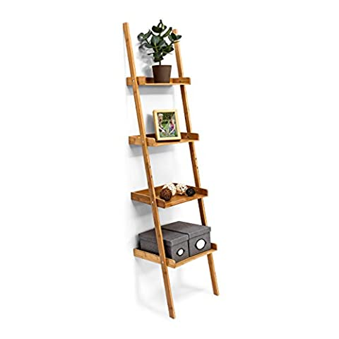 Relaxdays Wooden Shelf Bamboo Bookcase 4 Shelves 176 x 44 x 37 cm Bathroom Shelf with 4 Tiers Living Room Office Bookshelf Wall Leaning Shelving Unit,