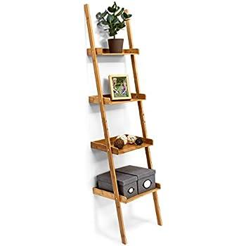Hartleys 4 tier folding ladder shelf brown for Meuble mural amazon