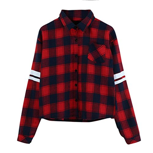 VENMO Frauen Langarm Bluse Rote Plaid Tops Gestreiftes Druckhemd Knopf T-Shirt Damen Langarmshirt Shirt Freizeit Oberteil Shirt Frauen Button Casual Hemd Plaids Cotton Übergang Bluse (M, Red) (Blend Cami)