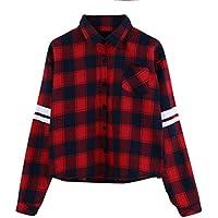 VENMO Frauen Langarm Bluse Rote Plaid Tops Gestreiftes Druckhemd Knopf T-Shirt Damen Langarmshirt Shirt Freizeit... preisvergleich bei billige-tabletten.eu