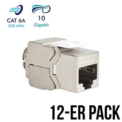 ystone Jack Modul CAT 6A RJ45 Buchse vollgeschirmt 10 GBit/s Ethernet werkzeuglos CAT 7 Einbaubuchse Netzwerkkabel Verlegekabel Patchpanel Netzwerk Kupplung Netzwerkdose ()