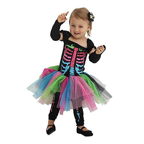 Ice-Beauty-ukzy Halloween Kostüm Mädchen Zombie Kleid Und Enge Hosen Kinder-Kostüm Neon Zombie Für Mädchen Kurzer Rockanzug Alter: 3-20 JahreBaby - Neon Zombie Kind Kostüm