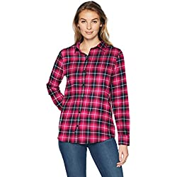 Amazon Essentials Long-sleeve Classic-fit Lightweight Plaid Flannel Shirt, Camisa de Manga Larga para Mujer, Rosa (Pink Plaid), Small