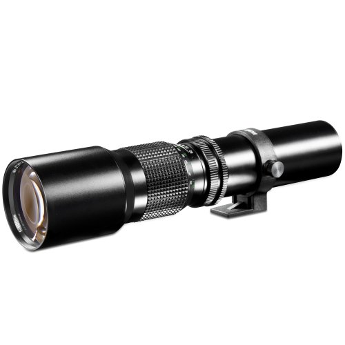 Walimex 500mm 1:8,0 DSLR-Objektiv für Nikon F Bajonett schwarz (manueller Fokus, für Vollformat Sensor gerechnet, Filterdurchmesser 67mm, mit ausziehbarer Gegenlichtblende)