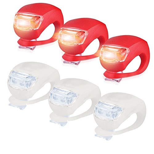 3 PC Fahrradscheinwerfer (Weiß)+3 PC Fahrradrücklichter(rot) LED Silikon Fahrradbeleuchtung Fahrradlicht, Nourich Fahrradleuchte, Fahrradlampe, Rücklicht, Fahrradlichter Set Push Clip (rot)