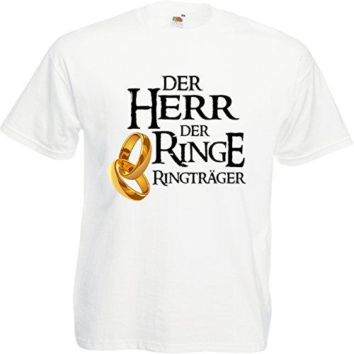 Herren T-Shirt für den Junggesellenabschied mit Motiv Der Herr der Ringe - Ringträger (Männer/Bräutigam) in weiss, Größe M
