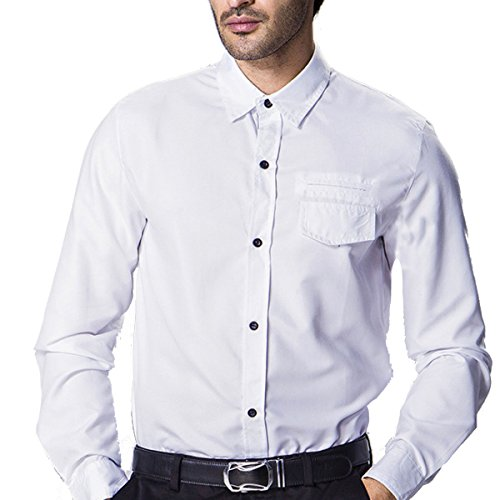 Grandi Dimensioni A Maniche Lunghe Camicia Decorata Collectibles Petto Con Patta Uomo White