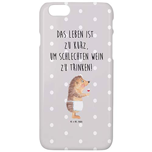 Mr. & Mrs. Panda Cover, Handycover, iPhone 6 / 6S Handyhülle Igel mit Wein mit Spruch - Farbe Grau...