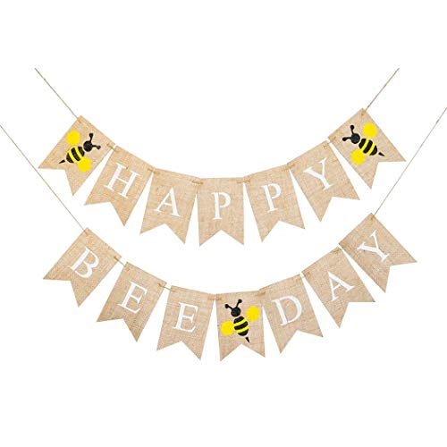2 Stücke Happy Bee Day Thema Party Dekoration Geburtstag Wand Banner Bunting Flagge Garland Überraschung Ideen ()