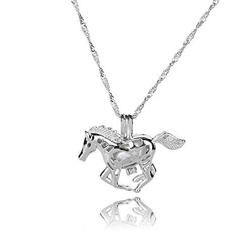 XZANTE Kreatives Pferd Leuchtende Legierung Anhaenger Halskette Silber Wasser Wellen Kette Hohl Halsketten Frauen Einfache laessig Schmuck blau
