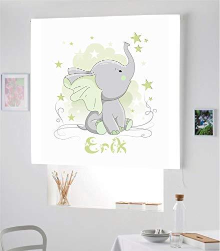 Desconocido Estor Infantil Enrollable TRANSLUCIDO Digital Elefante Erik para Poner TU Nombre¡¡Nuevo Estor Enrollable Infantil con Nombre A Todo Color HABITACION NIÑO (Verde Lima, 160X170)
