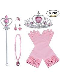 Vicloon Princesse Dress Up Accessoires Filles Diadème Varita Magie Collier Gants pour Cosplay Carnaval Fête d'anniversaire