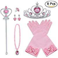 Vicloon Princesa Vestir Accesorios 8Pcs Regalo Conjunto de Belleza Corona Anillo Sceptre Collar Pendientes Guantes para Niña (Rosa)