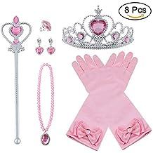 Vicloon Princesa Vestir Accesorios 8Pcs Regalo Conjunto de Belleza Corona Anillo Sceptre Collar Pendientes Guantes para